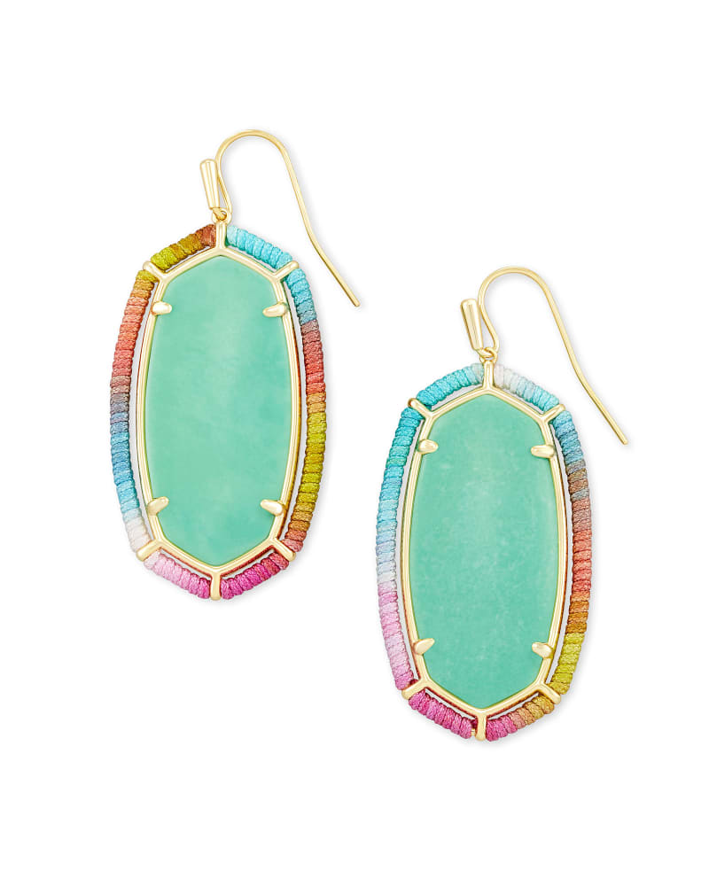 Threaded Elle Gold Drop Earrings in Mint Magnesite