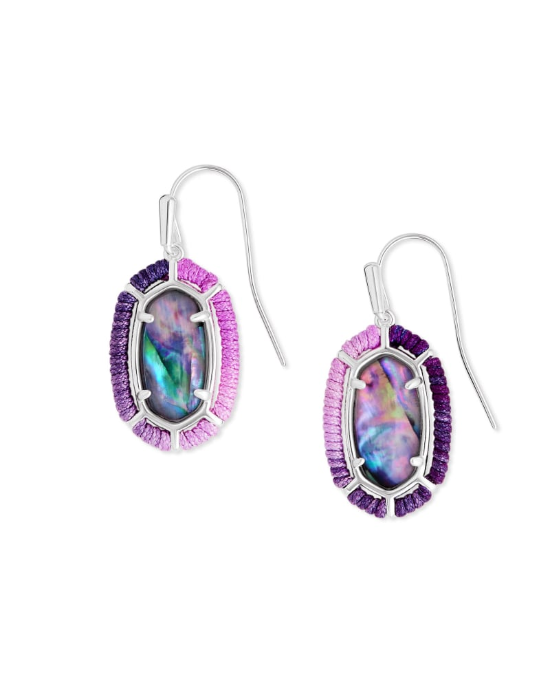 Threaded Lee Silver Drop Earrings in Lilac Abalone