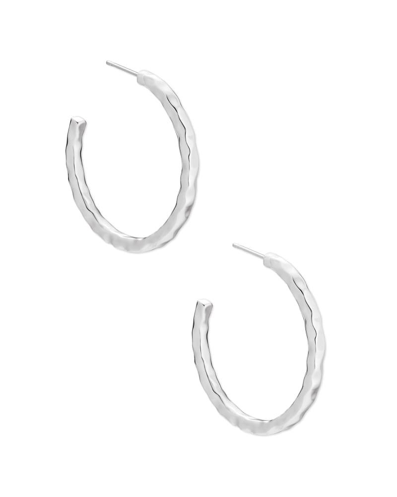 Zorte Small Hoop Earrings in Bright Silver