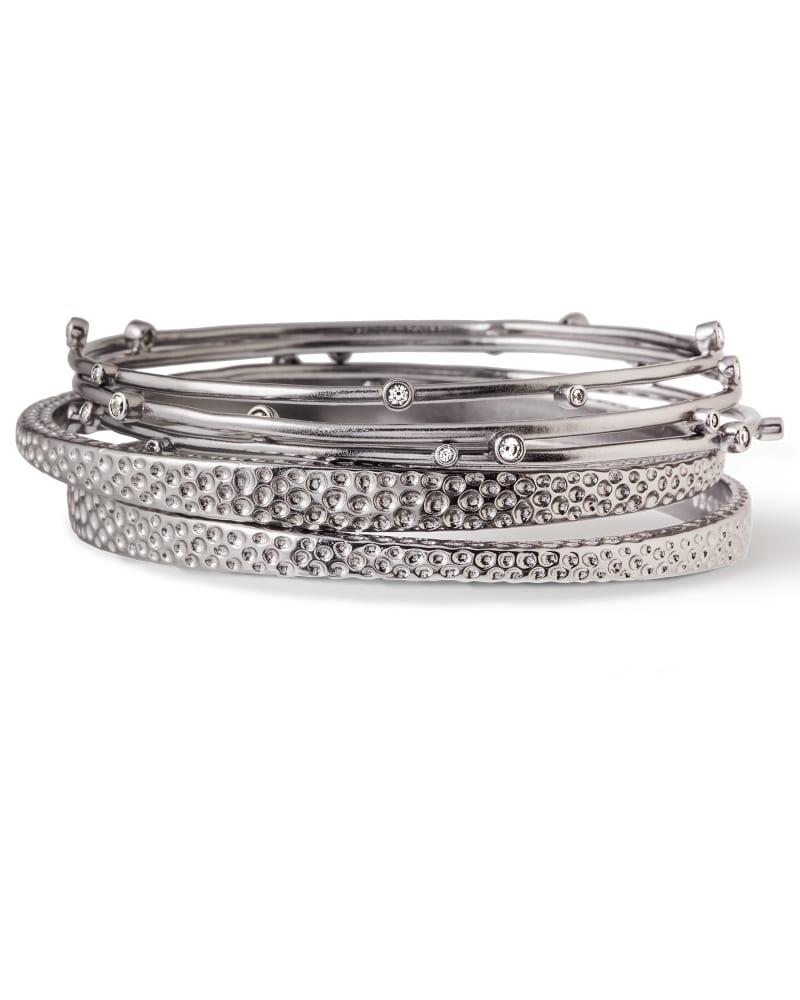 Tatum Bangle Bracelet Set in Hematite