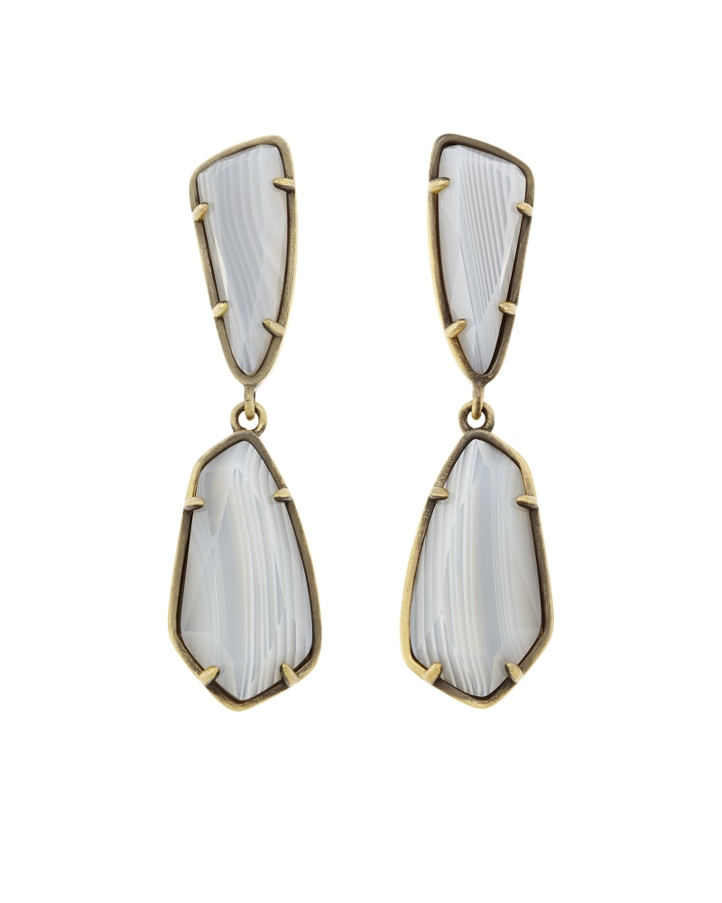 Traci Earrings in White Banded Agate