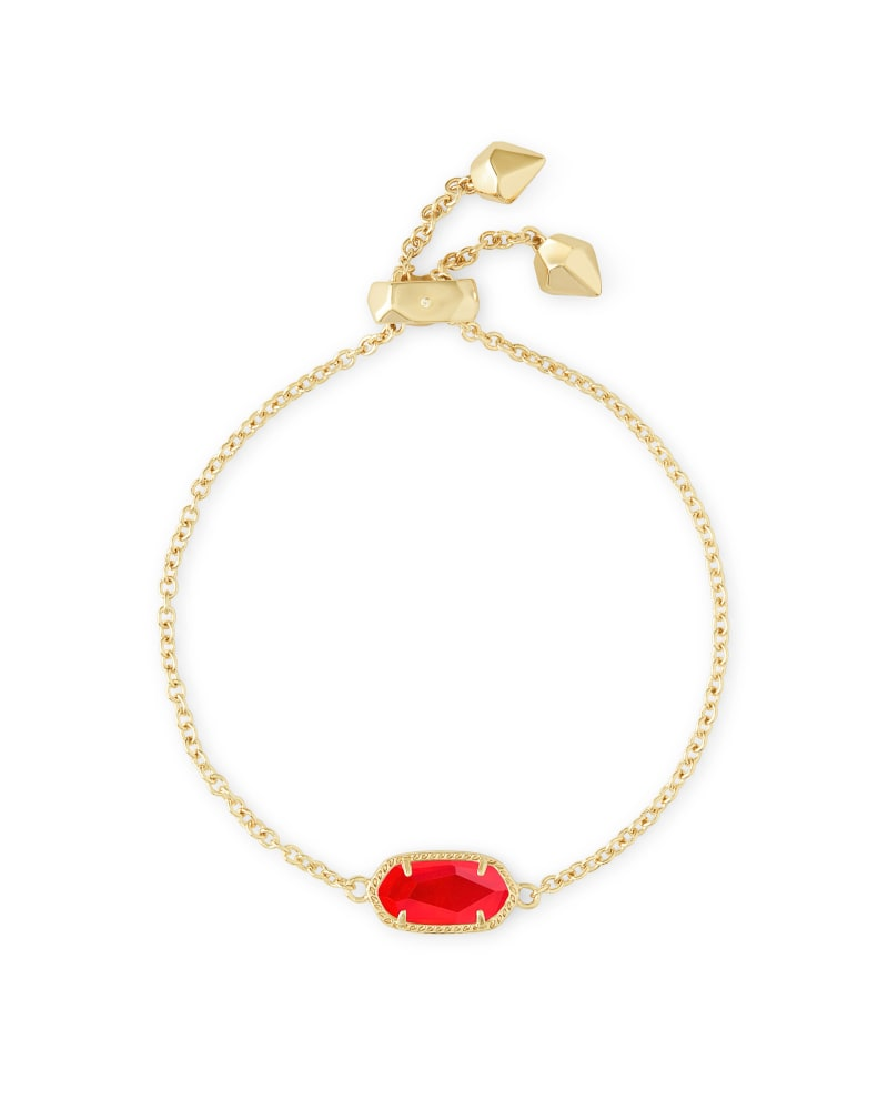 Elaina Gold Adjustable Chain Bracelet in Red Illusion
