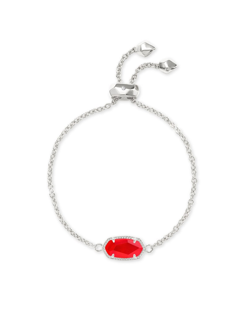 Elaina Silver Adjustable Chain Bracelet in Red Illusion