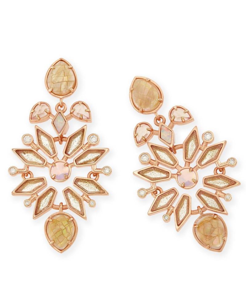Aurilla Statement Earrings in Rose Zellige