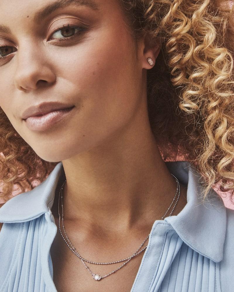 Emilie Silver Multi Strand Necklace in Rose Quartz