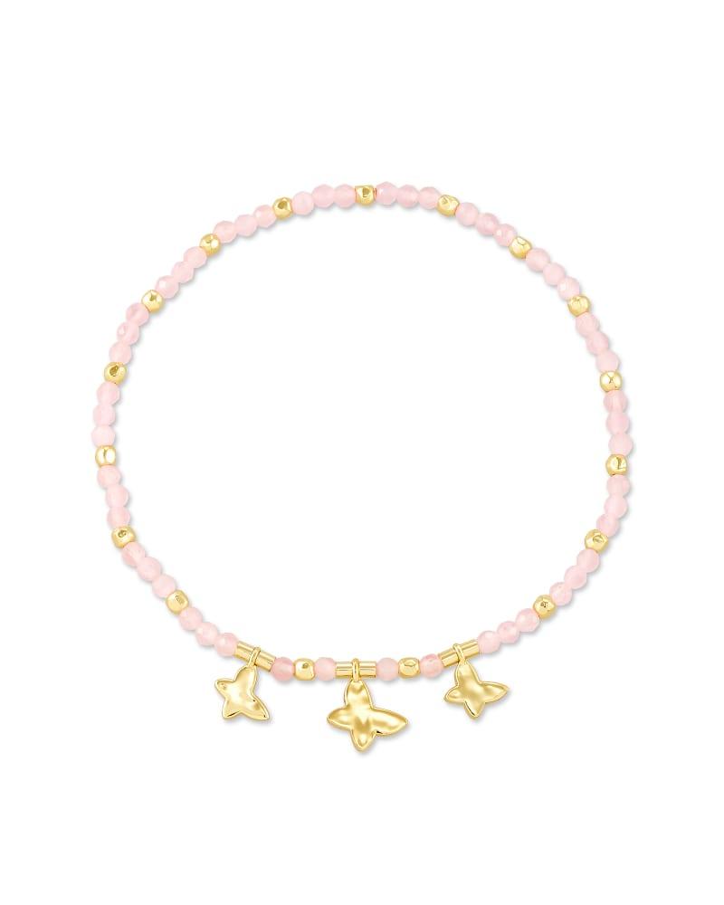 Lillia Butterfly Gold Stretch Bracelet in Pink Cat's Eye