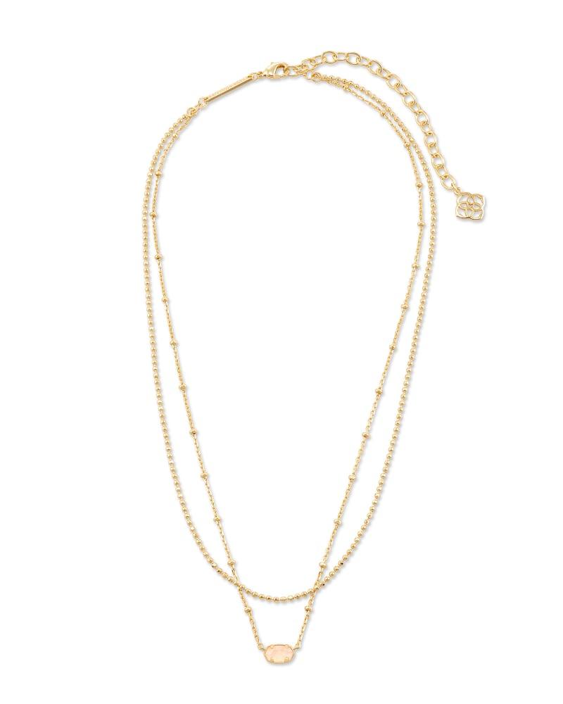 Emilie Gold Multi Strand Necklace in Rose Quartz
