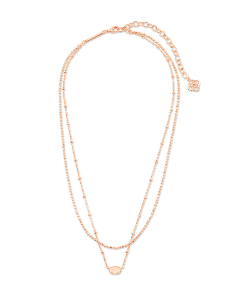 Emilie Rose Gold Multi Strand Necklace in Rose Quartz
