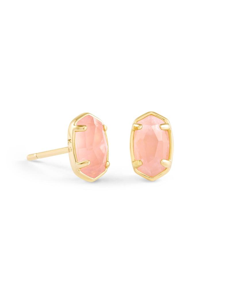 Emilie Gold Stud Earrings in Rose Quartz