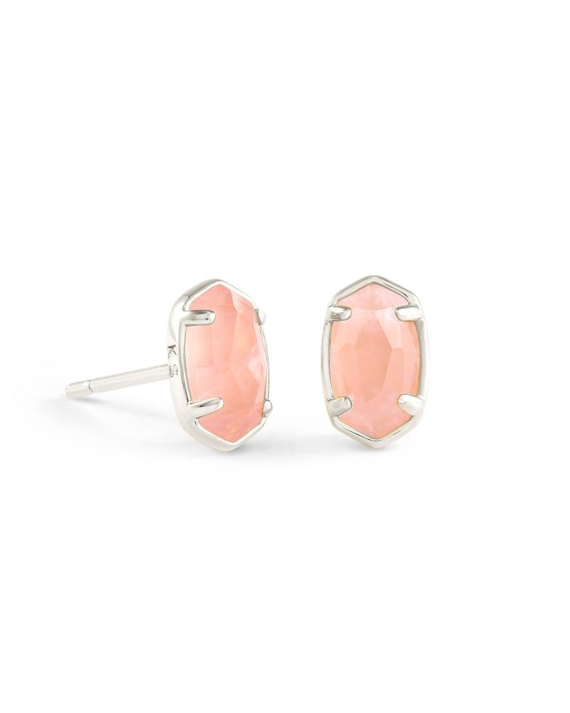 Emilie Silver Stud Earrings in Rose Quartz