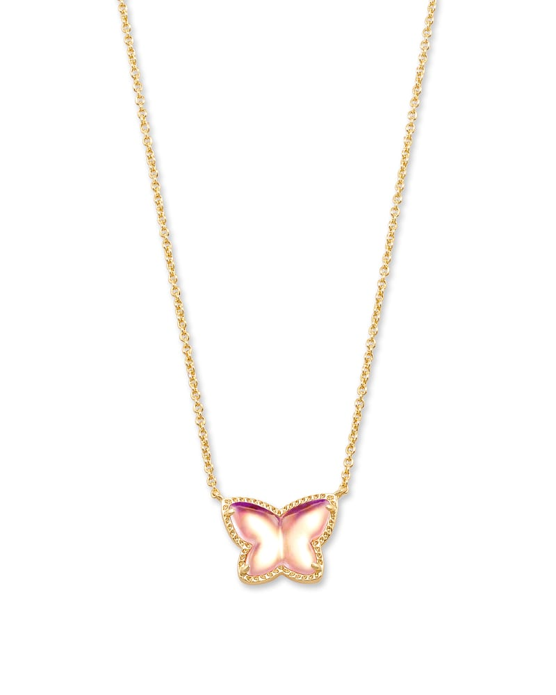 Lillia Butterfly Gold Pendant Necklace in Blush Dichroic Glass