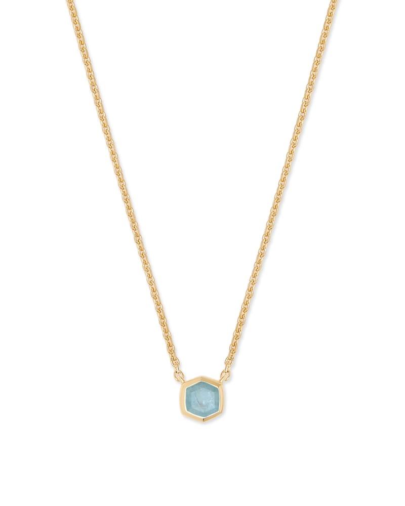 Davie 18K Sterling Silver Pendant Necklace in Aquamarine