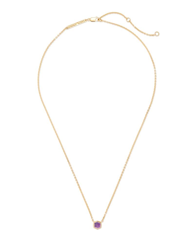 Davie 18K Gold Vermeil Pendant Necklace in Amethyst