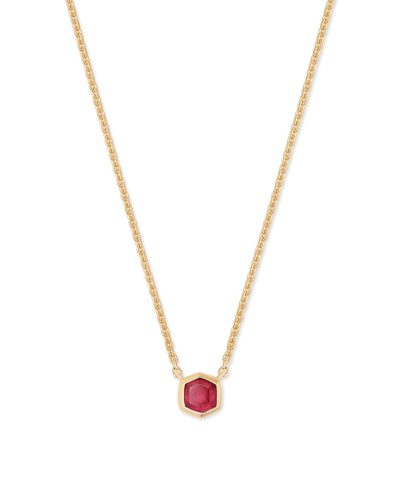 Davie 18K Gold Vermeil Pendant Necklace in Garnet