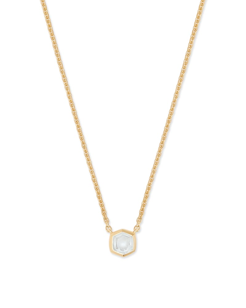 Davie 18K Gold Vermeil Pendant Necklace in Rock Crystal