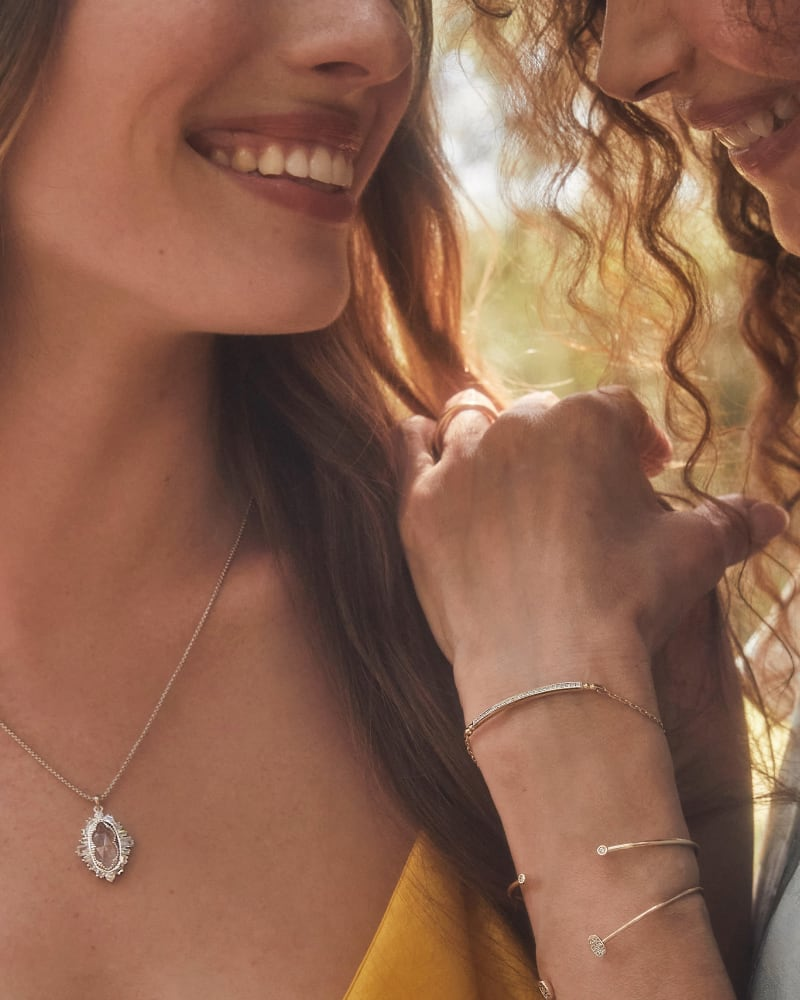 Kapri Silver Small Long Pendant Necklace in Lustre Glass