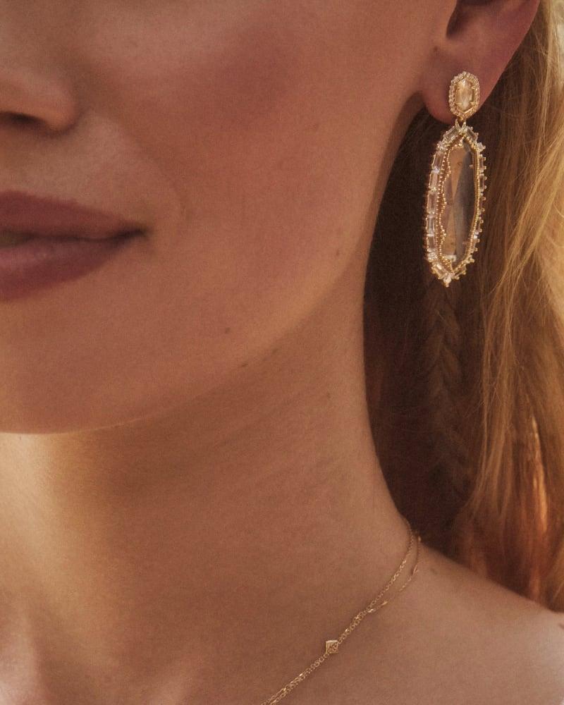 Kapri Gold Statement Earrings in Lustre Glass