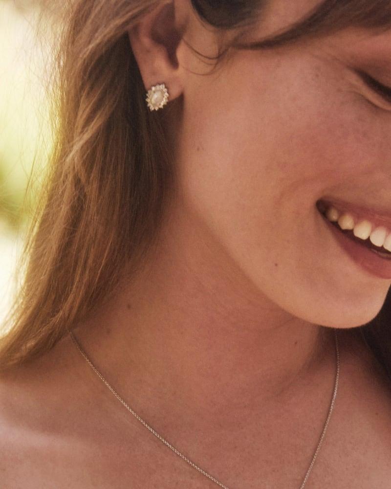 Kapri Gold Stud Earrings in Lustre Glass
