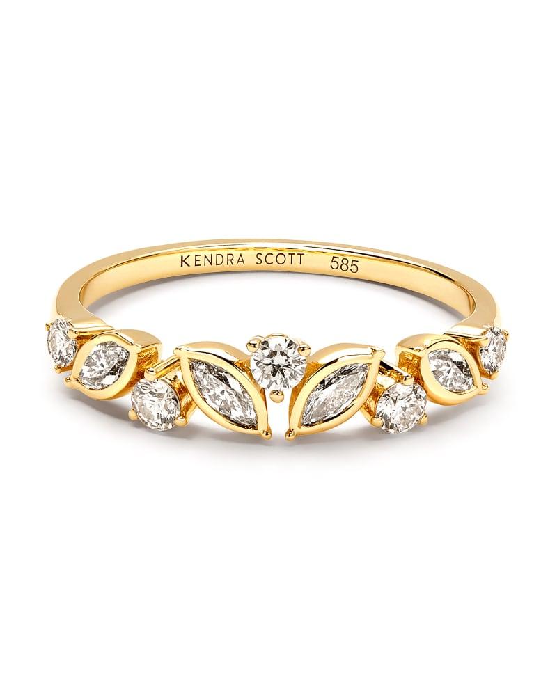 Becca 14k Yellow Gold Band Ring in White Diamond