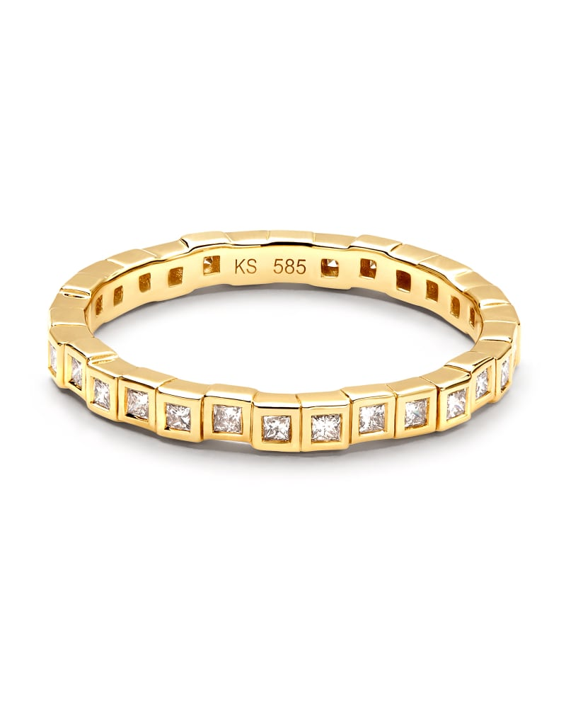 Bowen 14k Yellow Gold Band Ring in White Diamond