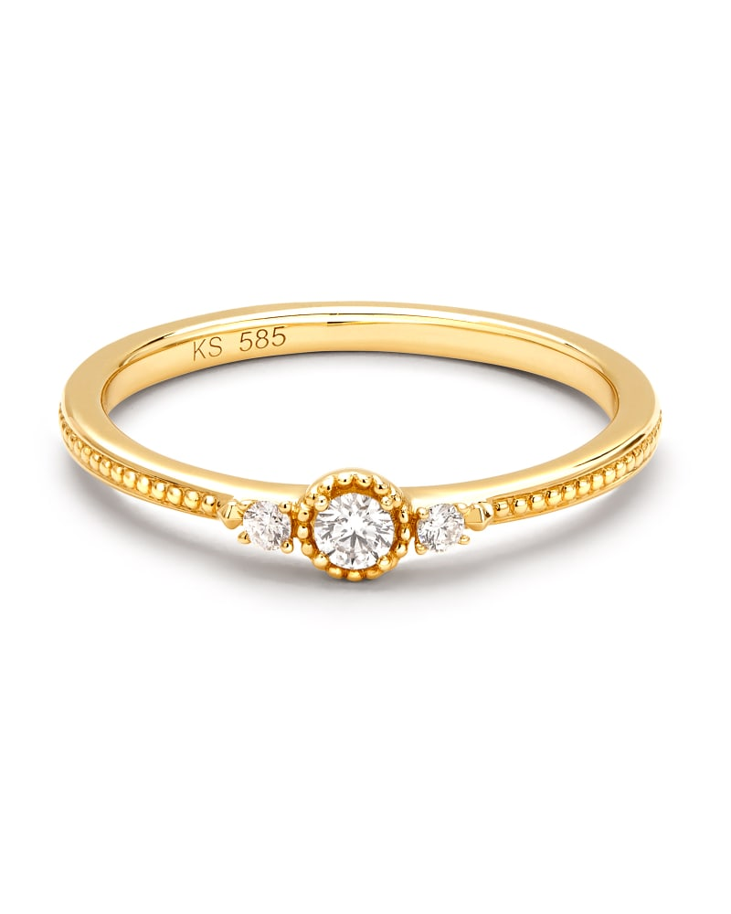 Victoria 14k Yellow Gold Band Ring in White Diamond