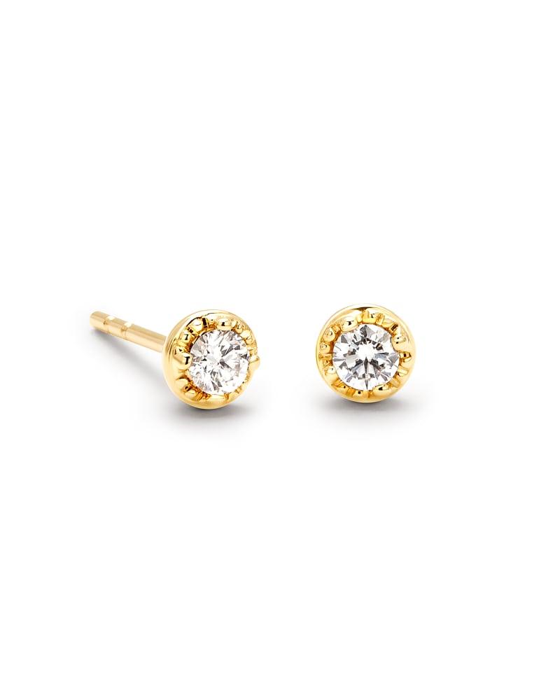 Victoria 14k Yellow Gold Stud Earrings in White Diamond