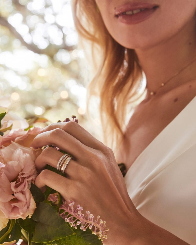 Angelina 14k Yellow Gold Band Ring in White Diamond