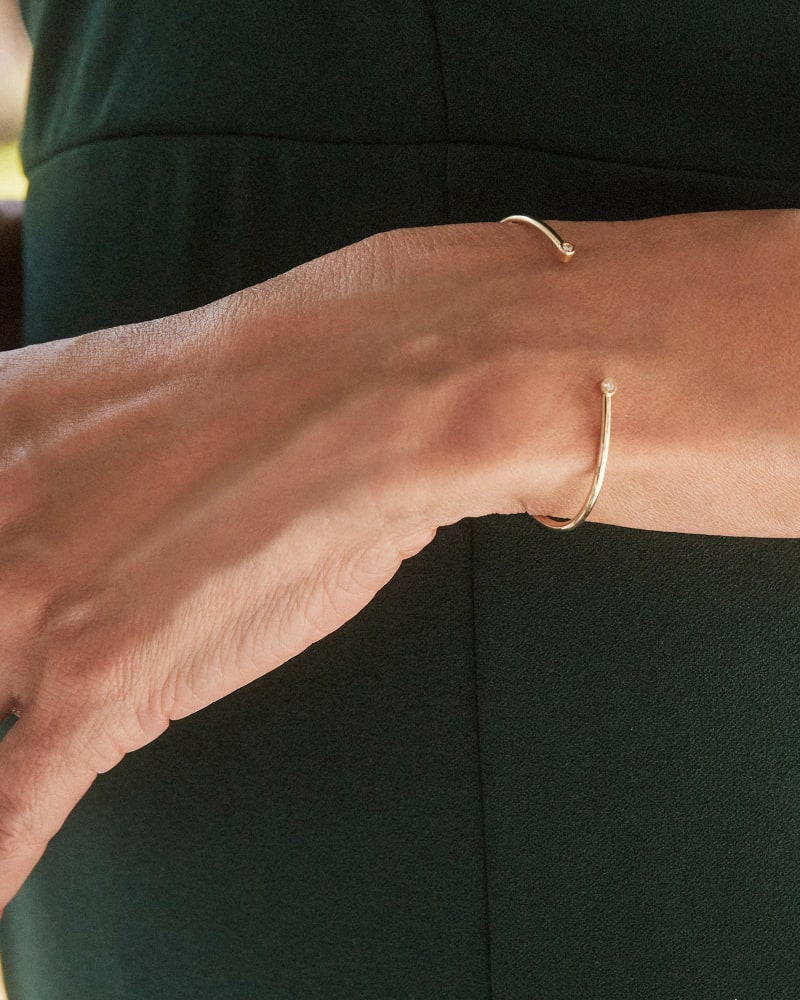 Audrey 14k Yellow Gold Cuff Bracelet in White Diamond