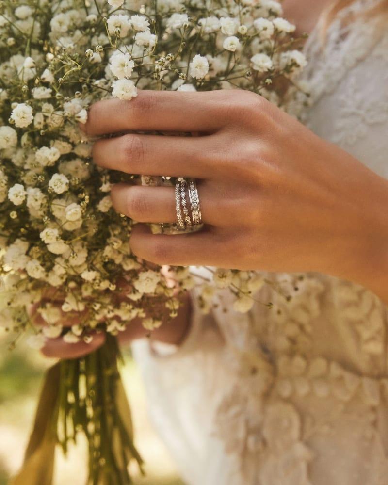 Remi 14k White Gold Band Ring In White Diamonds