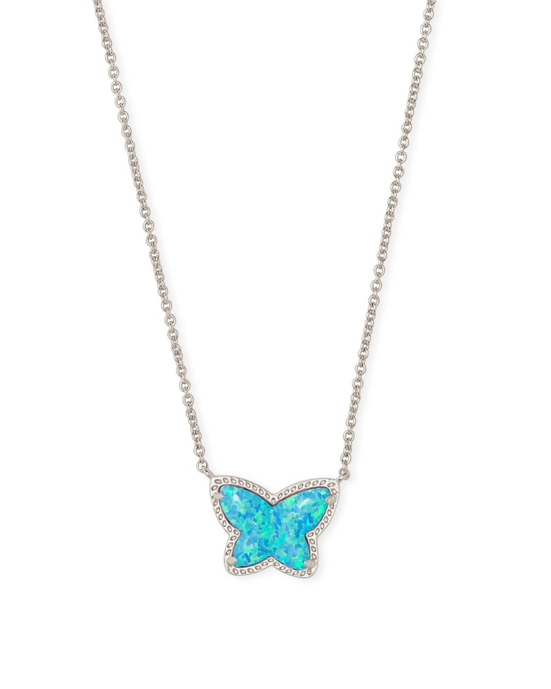 Lillia Butterfly Silver Pendant Necklace in Turquoise Kyocera Opal