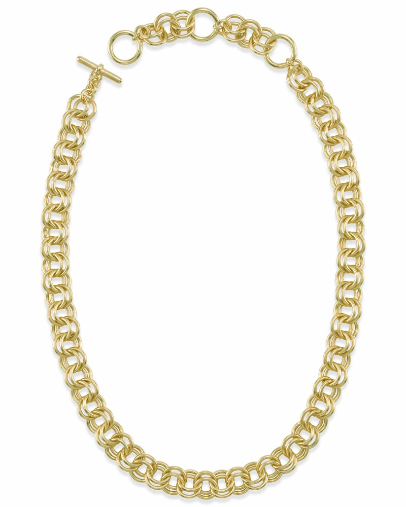 18 Inch Double Chain Link Necklace in Gold