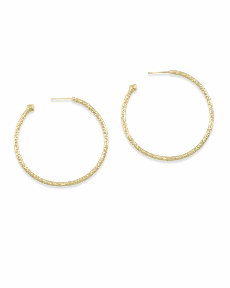Hammered Hoop Earrings in Gold