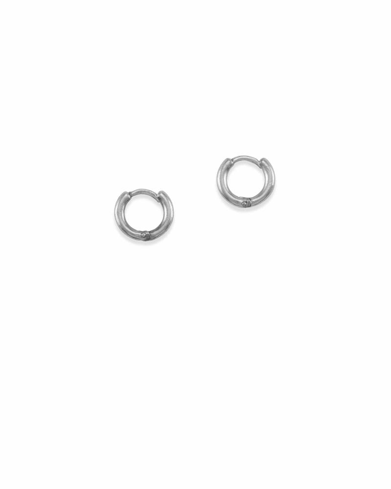 Huggie Hoop Earrings in Vintage Silver