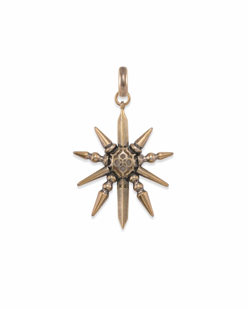 Sunburst with Pearl Charm in Vintage Gold