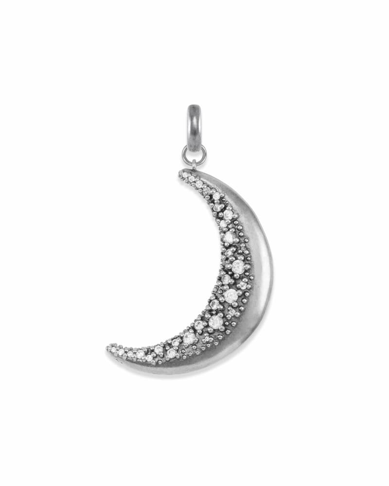 Large Crescent Moon Charm in Vintage Silver