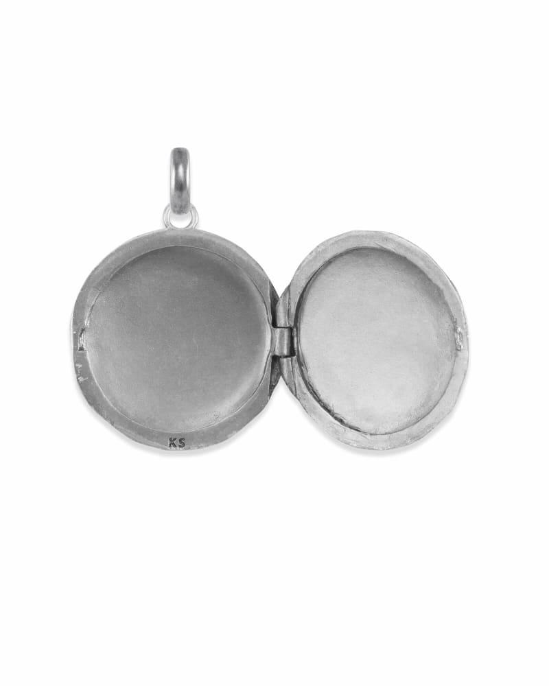 Large Locket Charm in Vintage Silver