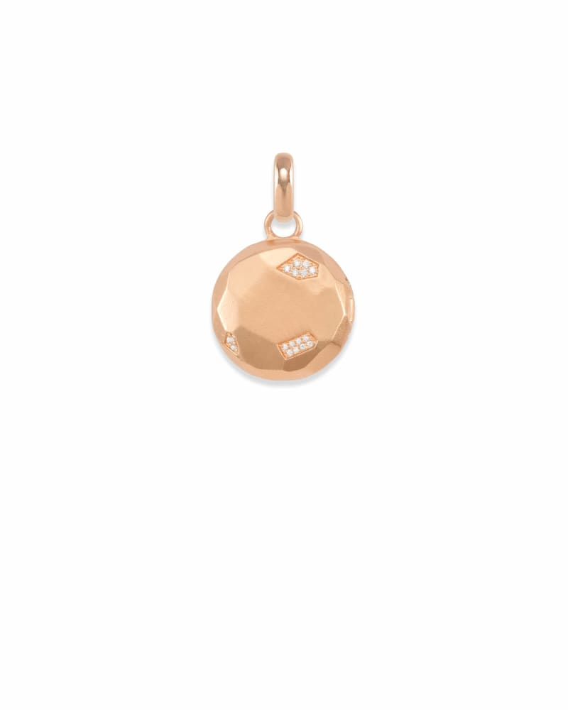 Pave Locket Charm in Rose Gold