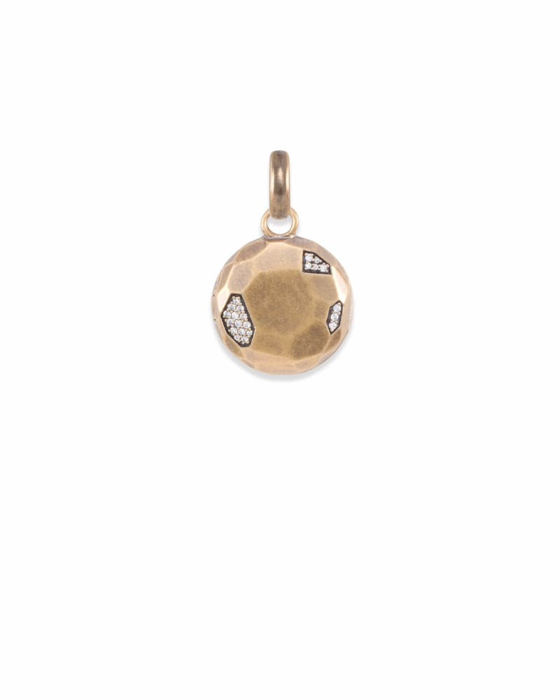 Pave Locket Charm in Vintage Gold