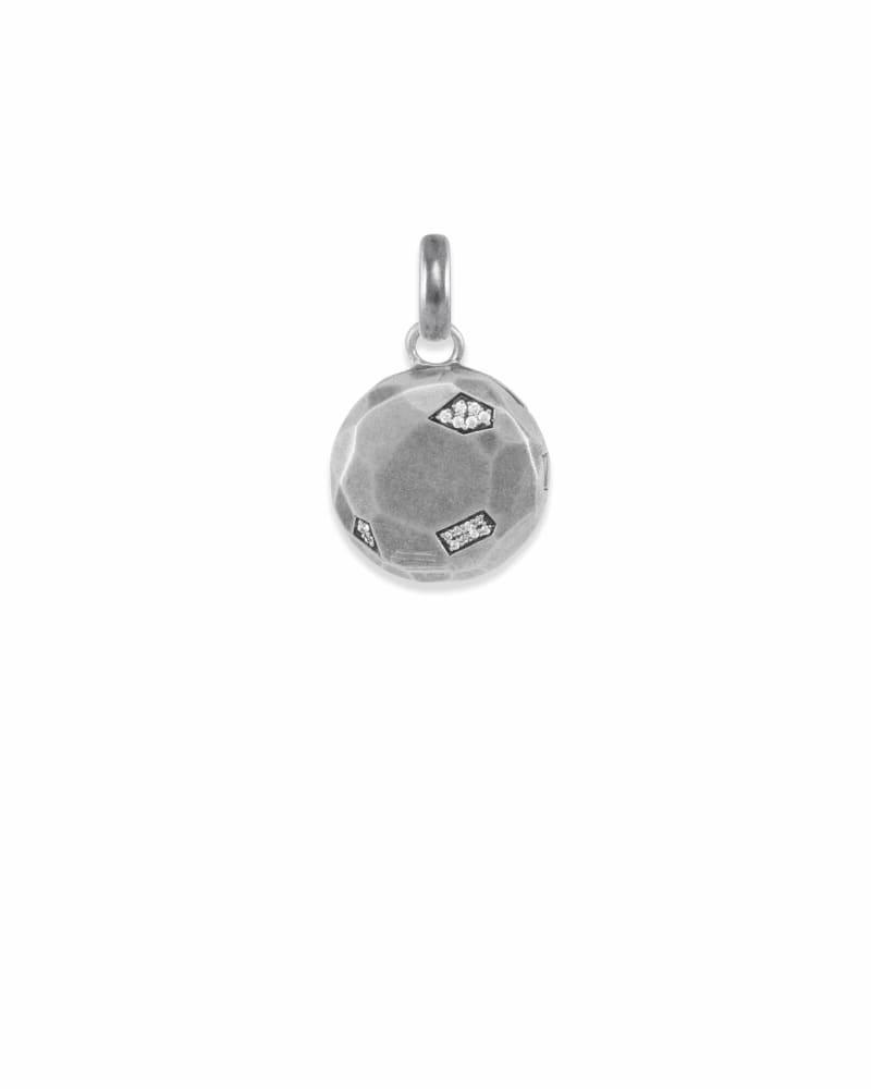 Pave Locket Charm in Vintage Silver