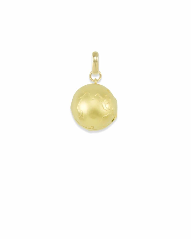 Globe Locket Charm in Gold
