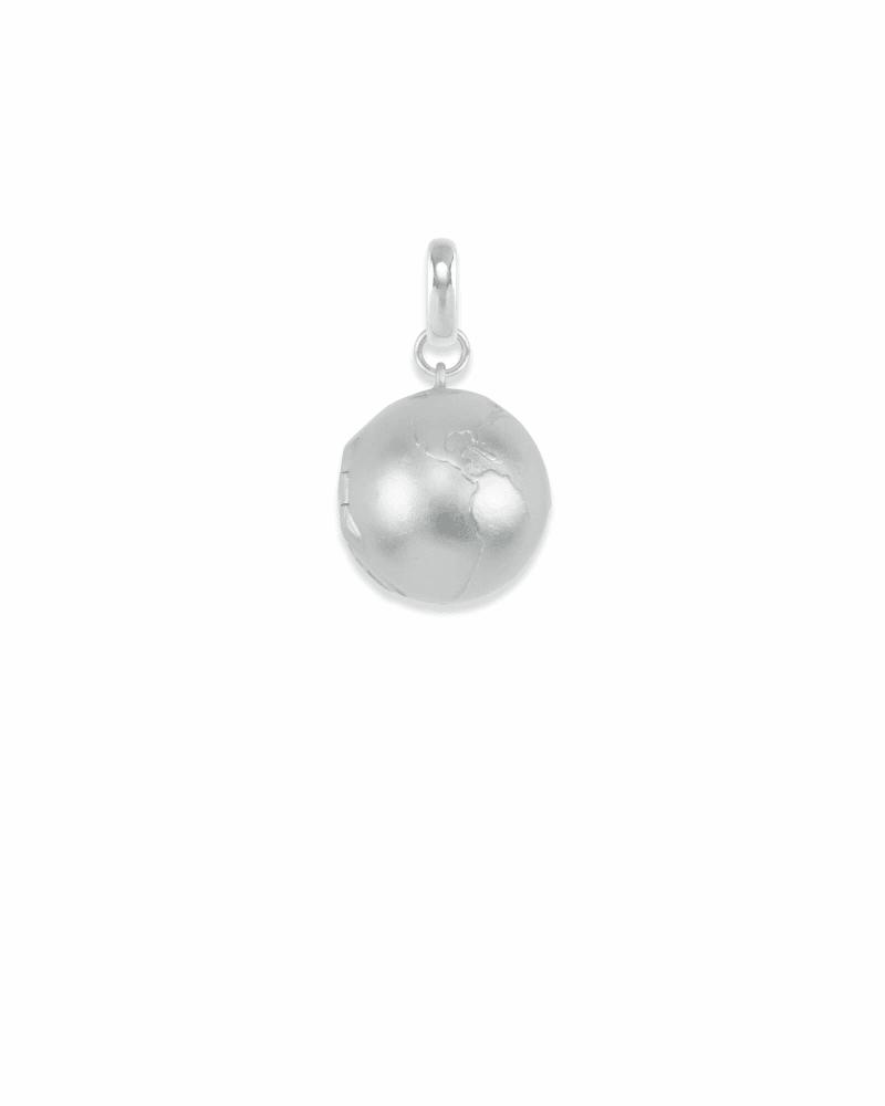 Globe Locket Charm in Silver
