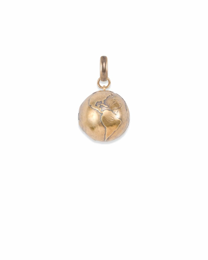 Globe Locket Charm in Vintage Gold
