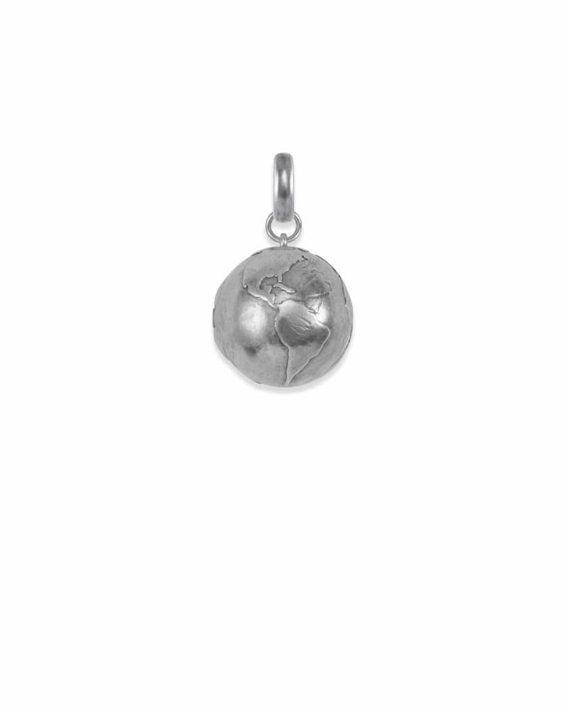 Globe Locket Charm in Vintage Silver