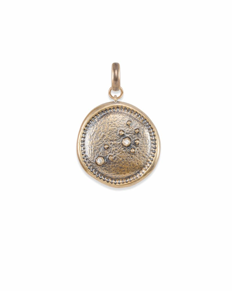 Leo Coin Charm in Vintage Gold