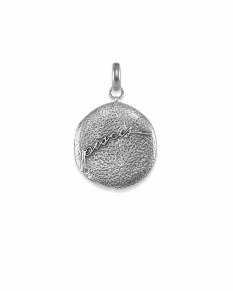 Pisces Coin Charm in Vintage Silver