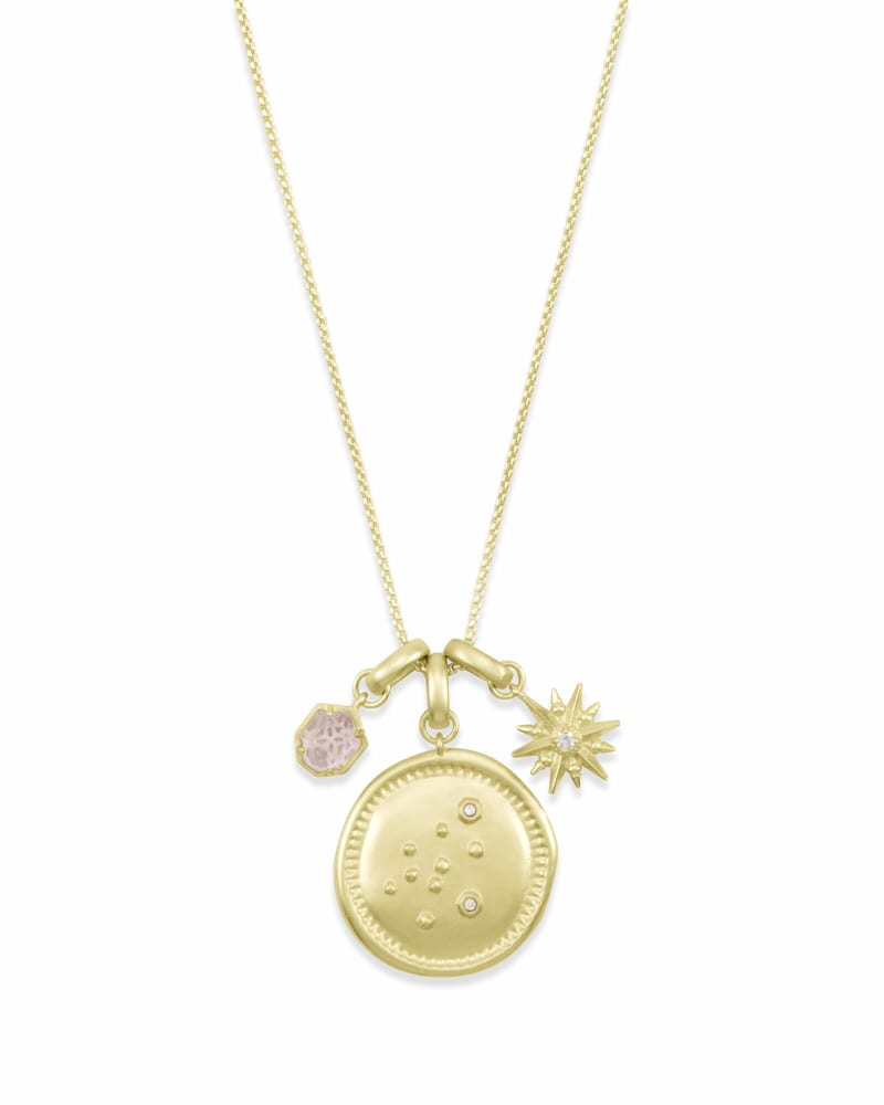 February Aquarius Charm Necklace Set in Gold