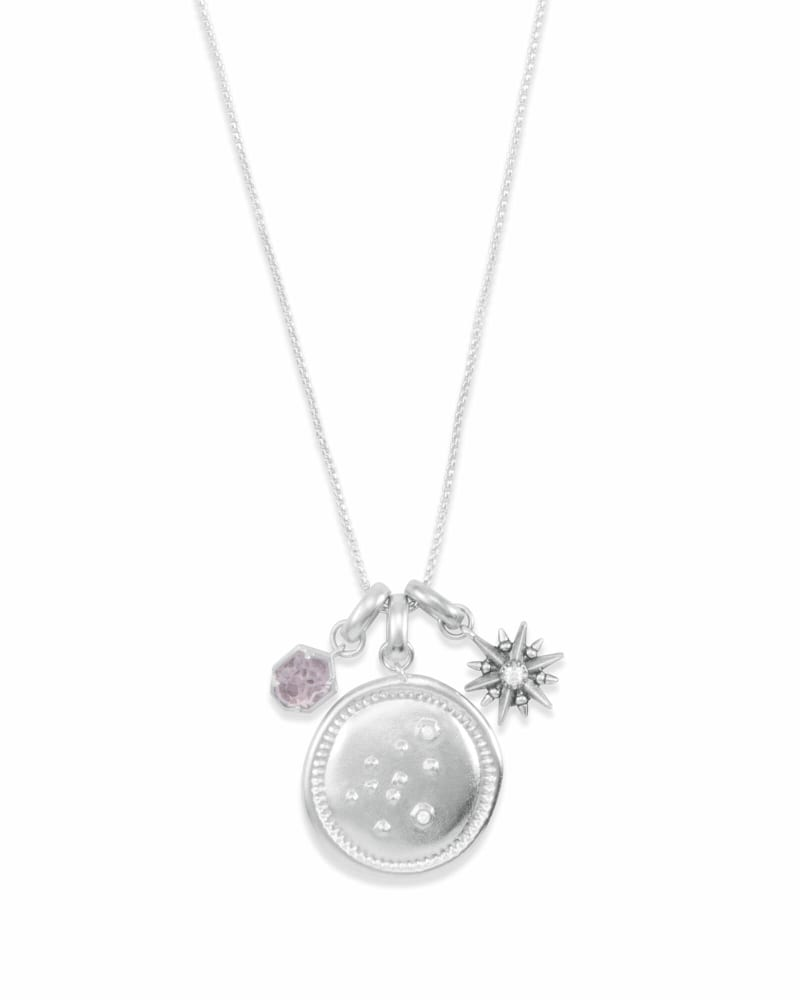 February Aquarius Charm Necklace Set in Silver