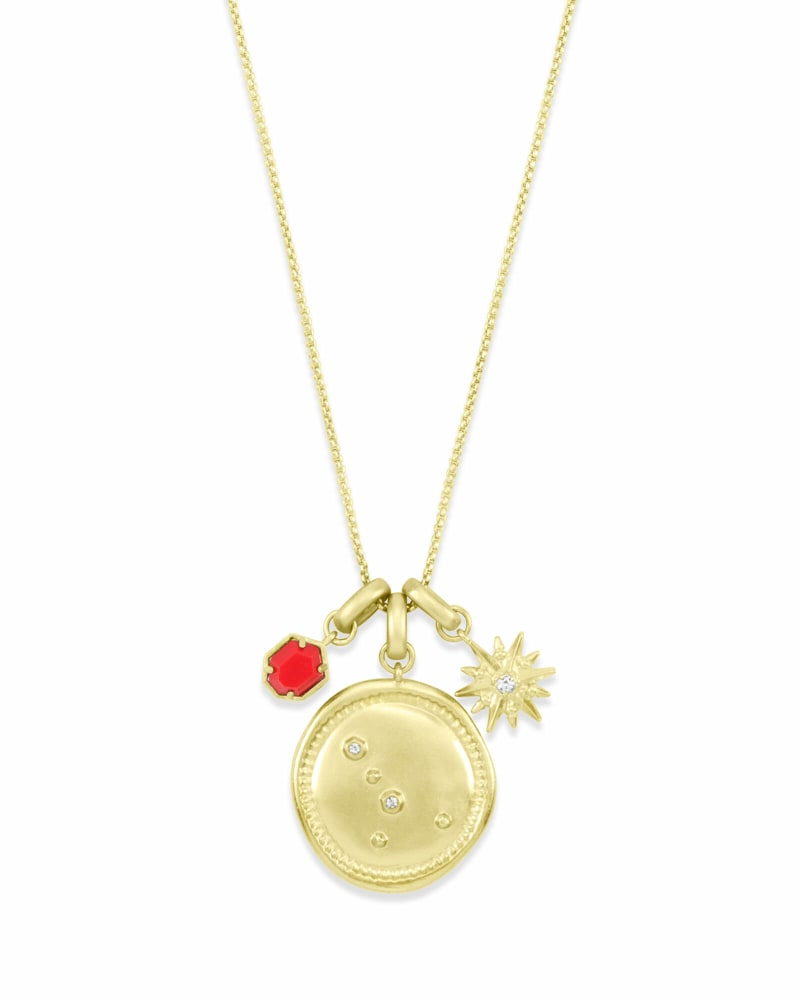 July Cancer Charm Necklace Set in Gold