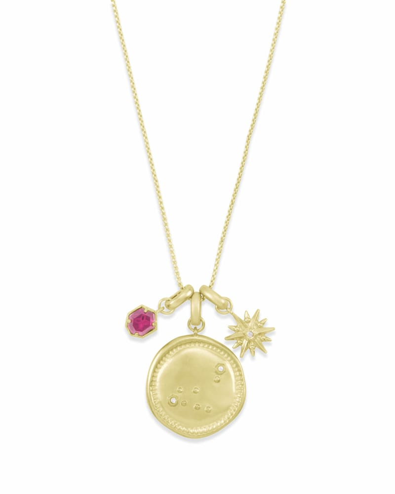 January Capricorn Charm Necklace Set in Gold