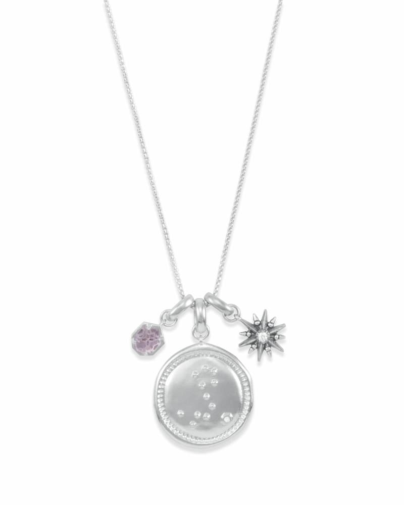 February Pisces Charm Necklace Set in Silver